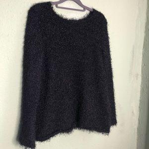 Black Fuzzy Sparkly Sweater Size Small